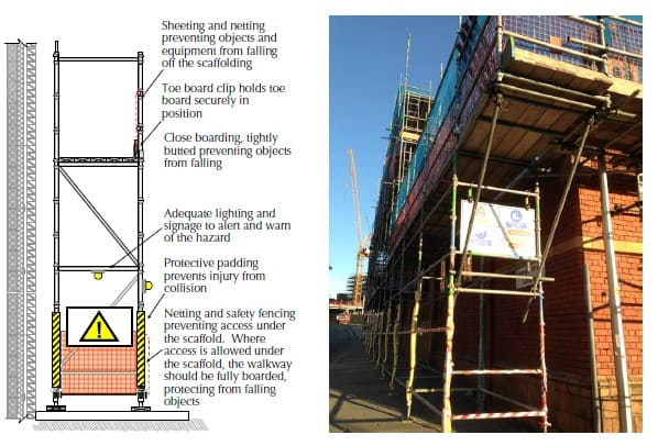 Independent scaffolding with safety signs, lights and hazard warning