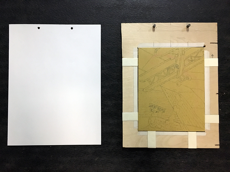 Relief printmaking paper with registration board
