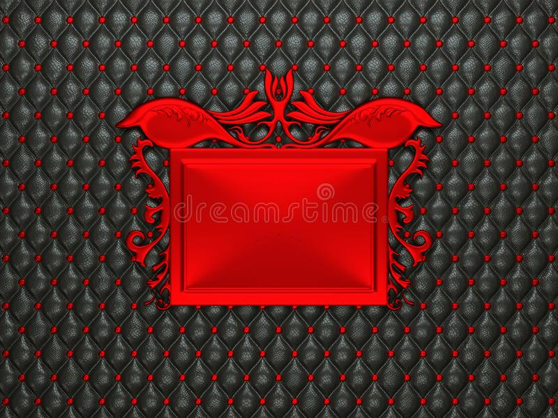 Black leather background with red stucco moulding frame for capt. Ion. Large resolution stock illustration
