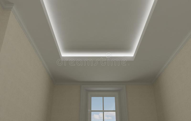 Ceiling close-up in classic interior, vintage room with stucco and moldings, beige wallpaper, illuminated false suspended ceiling. Design royalty free stock images