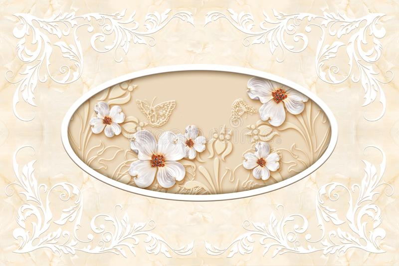 3d ceiling murals wallpaper, stucco moulding on marble background. White decor frame, jewelry flowers in the middle on beige marble background. 3d wallpaper vector illustration