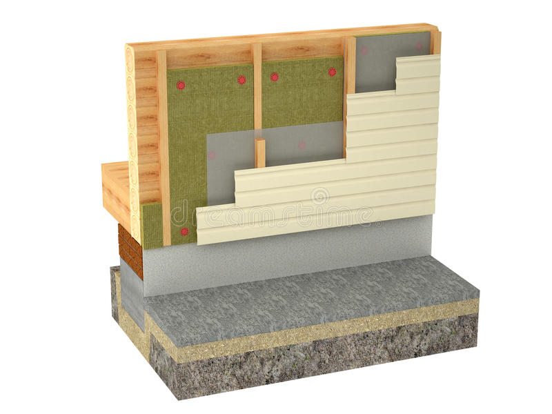 Log house insulation on white background royalty free stock images