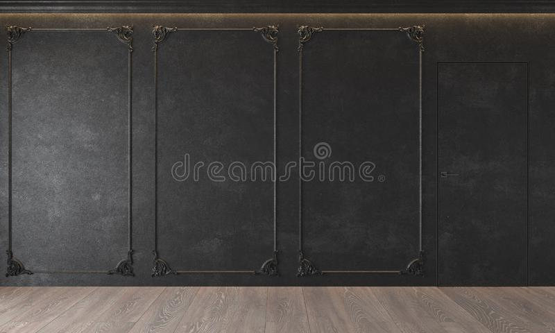 Modern classic black interior with stucco, door, wooden floor, ceiling backlit, molding. Empty room, blank wall. 3d render illustration mock up stock photo