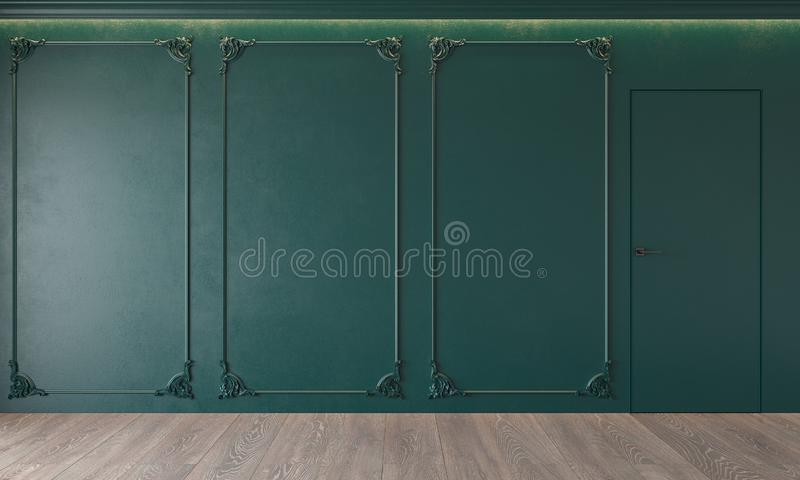 Modern classic green interior with stucco, door, wooden floor, ceiling backlit, molding. Empty room, blank wall. 3d render illustration mock up royalty free stock images