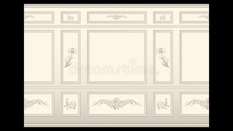 Stucco wall panel moulding seamless. Stucco floral pattern on light wall panel moulding seamless. Realistic detailed Vector illustration stock illustration