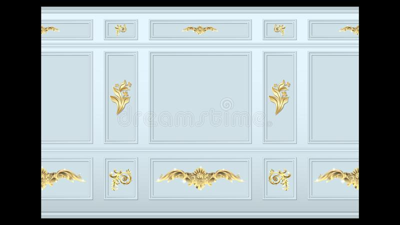 Stucco gold wall panel moulding seamless. Stucco gold floral pattern on light wall panel moulding seamless. Realistic detailed Vector illustration royalty free illustration