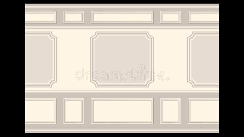 Stucco wall panel moulding seamless. Stucco pattern on light wall panel moulding seamless. Realistic detailed Vector illustration vector illustration