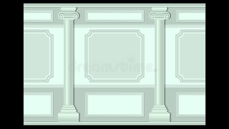 Stucco wall panel moulding with columns seamless. Beautiful stucco floral pattern on light wall panel moulding with columns seamless. Realistic detailed vector illustration