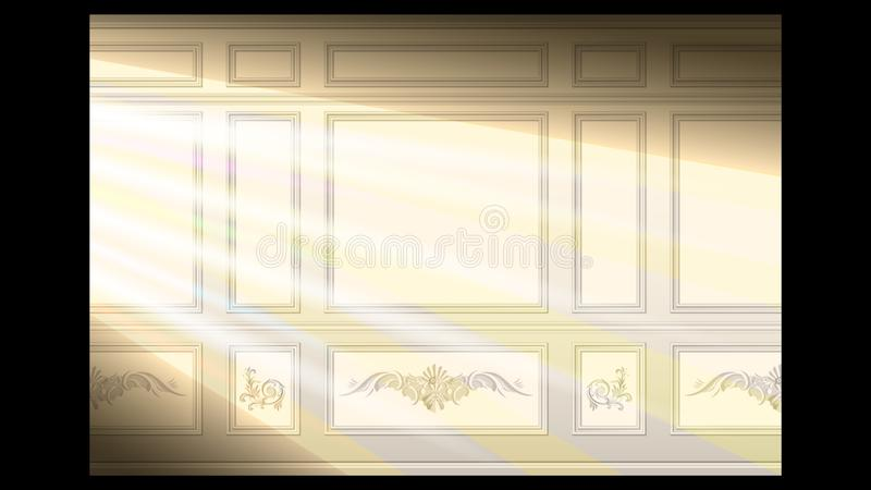 Stucco wall panel moulding seamless. Stucco floral pattern on light wall panel moulding seamless in the sunlight. Realistic detailed Vector illustration vector illustration
