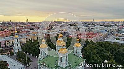 Aerial flight above beautiful Saint-Petersburg Russia 27 stock footage