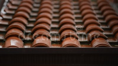 Roof in a rainy day stock video footage