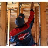 Установка отопления ЗЕБРА по деревянному потолку